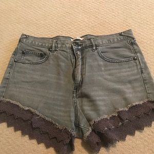Free people high waisted shorts with lace bottom